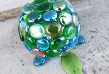 Glass Marbles Yard Art