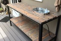 Outdoor buffet tables