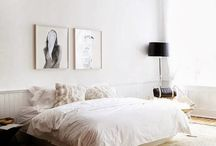 Bedrooms - interiors / clean, simple,earthy but elegant. love the lamp