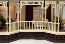 """1/4"""" Quarter Scale Dollhouse Miniature / This house was a custom built house. The Madeline was built using the customer's collection of quarter scale furniture. I enjoyed the challenge of finding just the right room for her special furniture."""