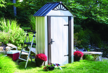Arrow® Designer™ Series Metro™ Shed, 4' x 2' / A perfect Steel Storage shed for a patio, yard, or small location. Built in floor, swing doors, and ornamental hinges and gable decor.