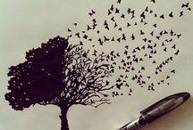 Træ med fugle