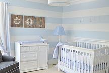 blue and white stripe nautical nursery