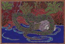 """A mélység állatai: kígyók, gyíkok, békák /  A kígyó """"megtanít hallgatni ösztöneinkre és megérzéseinkre. Bevezet bennünket az energia spirális táncába, hogy megtaláljuk saját isteni ritmusunkat és kibontakoztassuk erőinket. Arra biztat, hogy néha vonuljunk vissza, hogy vele együtt bensőnkben fejlesszük tovább az erőket."""" Jeanne Ruland: Az állatok ereje"""
