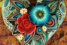 Corazones pintados