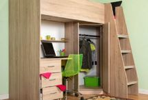 Cornwall HIgh Sleeper Cabin Bed / High sleeper cabin bed, large wardrobe and desk, large external stairs and storage shelves. Sonoma Oak real wood effect.