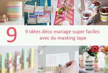 Idées déco masking tape / Le masking tape ou ruban adhésif fantaisie est très facile à utiliser. Découvrez des tas d'idées pour une déco de mariage facile.