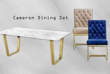 Cameron Dining Set - Marble Table / The Cameron Dining Set by Meridian Furniture. Featuring a beautiful contemporary design with gold plated stainless steel and Genuine marble top. This dining table is guaranteed to be the highlight of any home.