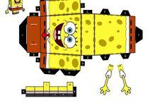 SpongeBob paper craft cube figures / printable D.I.Y craft paper cube figures