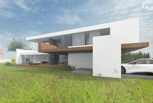 Moderne Häuser Bauhausstil / Moderne Wohnhäuser im zeitlosen Bauhausstil. Klare Linienführung und puristische Formensprache.