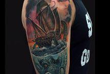kraken ship tattoo