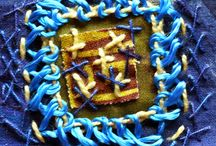 Stitch layered squares