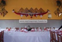 esküvői dekoráció wedding / origami wedding dekoráció