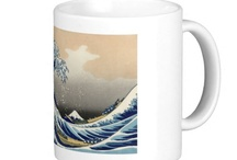 Hokusai Coffee Mugs / Coffee Mugs featuring reproductions of Katsushika Hokusai's famous artwork. To see more go to www.VanGoghCustom.com / by Roz Abellera Art