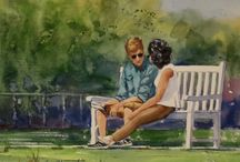 Figurative Watercolor Paintings by Jim Oberst / Original watercolor paintings by Jim Oberst