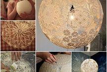 Лампы из кружевных салфеток