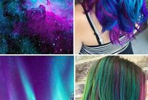 Gorgeous Galaxy Hair / Poets and Philosphers from times long past have looked up at the night sky and been inspired by the startling colors and infinite possibilities. And now Stylists are getting in on the cosmic action with mind blowing results.