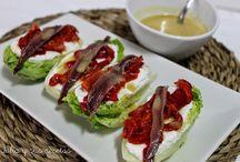 Cogollos con anchoa y vinagreta