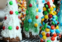 Christmas Dessert / - edible Xmas trees out of ice cream cones