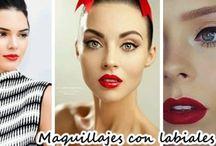 Maquillajes con labiales color rojo