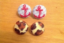 Handmade button earrings made by me / I make fabric buttons then I turn them into earrings as a hobby  / by Chrysteana Eigenbrode