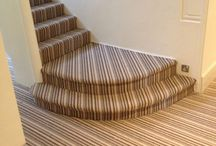 Striped Stairs Carpet / Client: Private Residence In North London. Brief: To supply & install carpet to stairs.