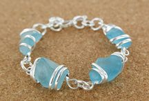 Sea Glass  by Sadie / Hand wrapped, up-cycled glass jewelry