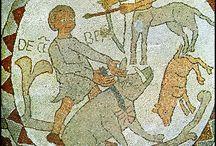 Ciclo dei Mesi / Pantaleone, ciclo dei Mesi del mosaico pavimentale della cattedrale di Otranto, 1163-65  Benedetto Antelami, ciclo dei Mesi del battistero di Parma, inizio XIII secolo