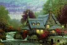 Casas de campo y bellos paisajes pintados / by Lili Ana