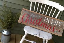 Merry Christmas old board sign