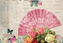 Calambour Spring-Summer collection 2014 / Calambour is pleased to introduce the new line of papers Spring-Summer 2014  inspired by the Victorian style , emblem of an era in which the decoupage changed completely, introducing around a central print, motifs such as flowers, country scenes and images of ladies and children.