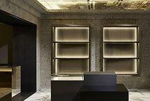 Givenchy - Avenue Montaigne - Paris. Ceppo di Gré / Ceppo di Gré stone, interiors walls