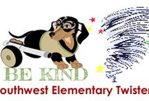 Southwest Elementary Mrs. Himes / Located in Clinton, Oklahoma Southwest Elementary School is home to Stephanie Hime's terrific class of third graders. As the name implies, the school's symbol is a tornado and the kids are full of lots of  positive energy and fun. Stay tuned as we read CritterKin stories and talk about kindness.