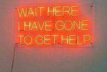 Orange neon signs