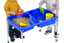Sand and Water Tables / Sand and Water tables provide children with a relaxing and stress reducing sensory experience. As they fill, scoop, pour and sift, they learn concepts about the world as well as pre-math and pre-science concepts. Our activity tubs are made of sturdy, weatherproof plastic with a rust-proof chrome steel frame.  http://www.childrensfactory.com/