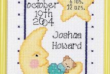 birth samplers in cross stitch