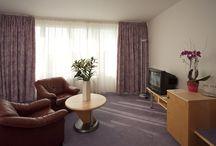 Pokoj typu apartmá / Pokoje typu apartmá mají kromě ložnice prostorný obývací pokoj, v němž je možné pohodlně užívat služeb hotelu.