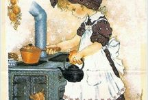 Vintage cooking in the  kitchen
