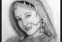 bridal face in drawing