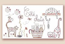 Chat broderie