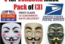 V FOR VENDETTA OFFICIAL GUY FAWKES OCCUPY ANONYMOUS COSTUME MASK (pack of 3)