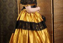 Victorian gold dress