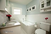 Bathroom Design 56 / Our traditional white subway tile and blue bathroom.