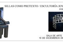 """EXPOSICIÓN DE JOSÉ ABAD. """"Escultoría Joyérica y Sillas como Pretexto"""" / """"Escultoría Joyérica"""":  Plata, oro y olivinas, basadas en sus esculturas de los Guanches de Candelaria. José Abad construye piezas de joyería de pequeño formato, adaptando las formas escultóricas para su uso como joyas ponibles. """"Sillas como Pretexto"""": la serie más reciente de José Abad, esculturas de pequeño formato  trabajadas en madera y piezas únicas trabajadas en bronce en nuestro taller, así como  esculturas pequeñas en plata y oro con piedras preciosas y basalto de la misma serie."""