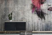 Female wall art / Wall designs reproduced on real stucco #handmade #madeinitaly