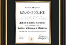 Roanoke College Diploma Frames and Gifts! / Official RC Diploma frames. Exquisitely crafted to exacting specifications for the RC diploma. Custom framed using hardwood mouldings and all archival materials, including UV glass to prevent fading from sunlight AND indoor incandescent lighting! Each frame exceeds Library of Congress standards for document preservation and includes a 100% lifetime guarantee, ensuring that a hard-earned achievement will be honored and protected for generations. Makes a thoughtful and unique graduation gift!
