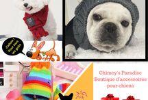Vêtements pour chien / Dans ce tableau, vous trouverez des images ou vidéos des vêtements pour chiens disponibles sur la Boutique d'accessoires pour chiens Chimey's Paradise.