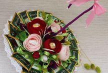 kwiaty ze slodyczami diy