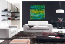 Interior Design / Los Angeles abstract painter Nestor Toro. painting in room setups. #art #abstract #artwork
