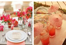 Coral and Gold beach wedding